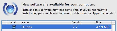 iTunes 7.7 Update