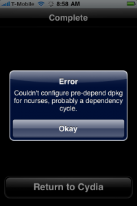 IError Couldn't configure pre-depend dpkg for ncurses, probably a dependency cycle.