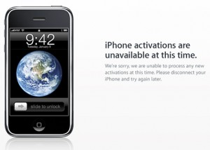 activation problems for iphone 3g s